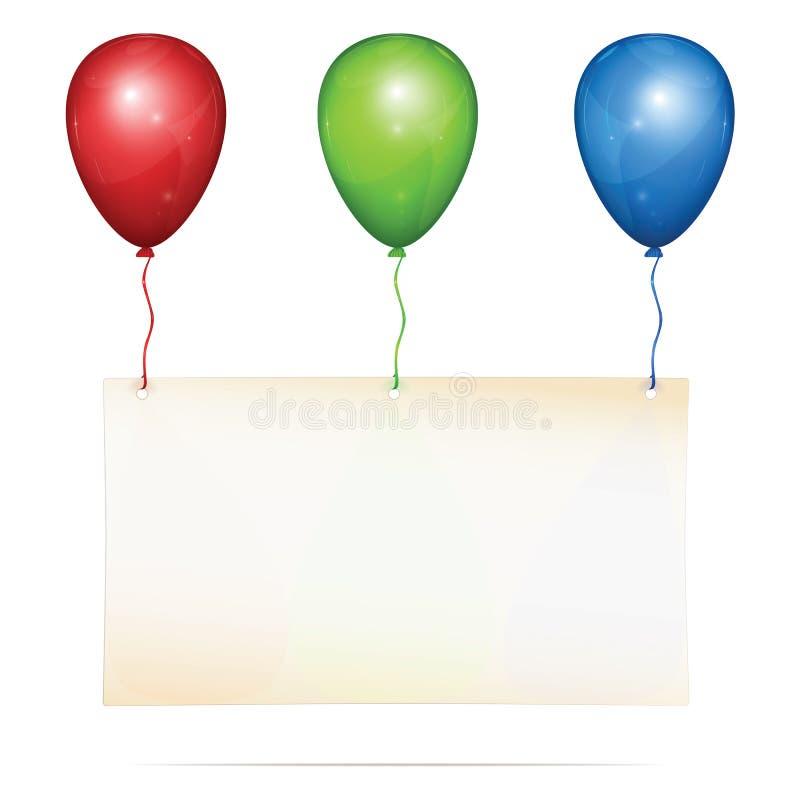 Ευχετήρια κάρτα στα μπαλόνια στοκ φωτογραφία με δικαίωμα ελεύθερης χρήσης