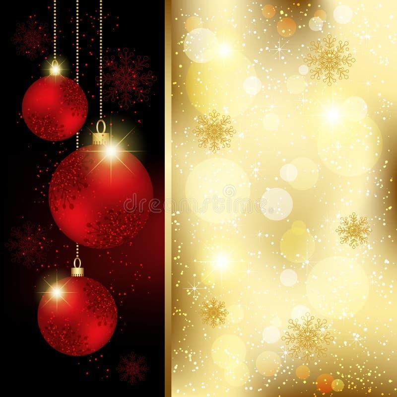 Ευχετήρια κάρτα σφαιρών κρυστάλλου Χριστουγέννων ελεύθερη απεικόνιση δικαιώματος