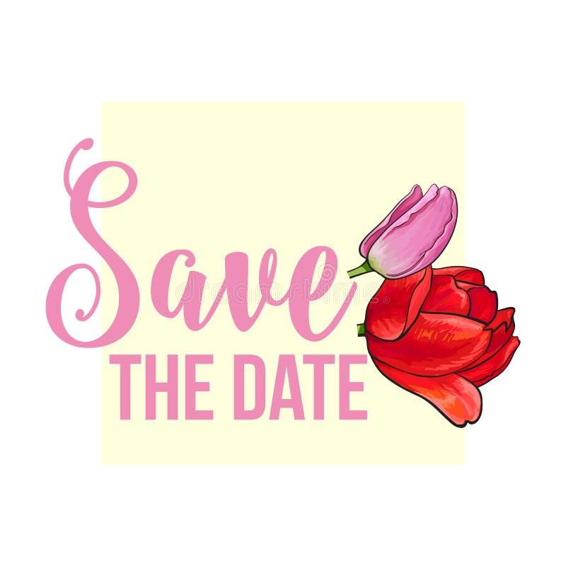 Ευχετήρια κάρτα, σχέδιο γαμήλιας πρόσκλησης με συρμένα τα χέρι λουλούδια τουλιπών διανυσματική απεικόνιση
