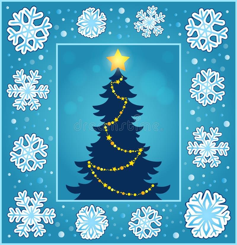 Ευχετήρια κάρτα 2 σύνθεσης Χριστουγέννων διανυσματική απεικόνιση