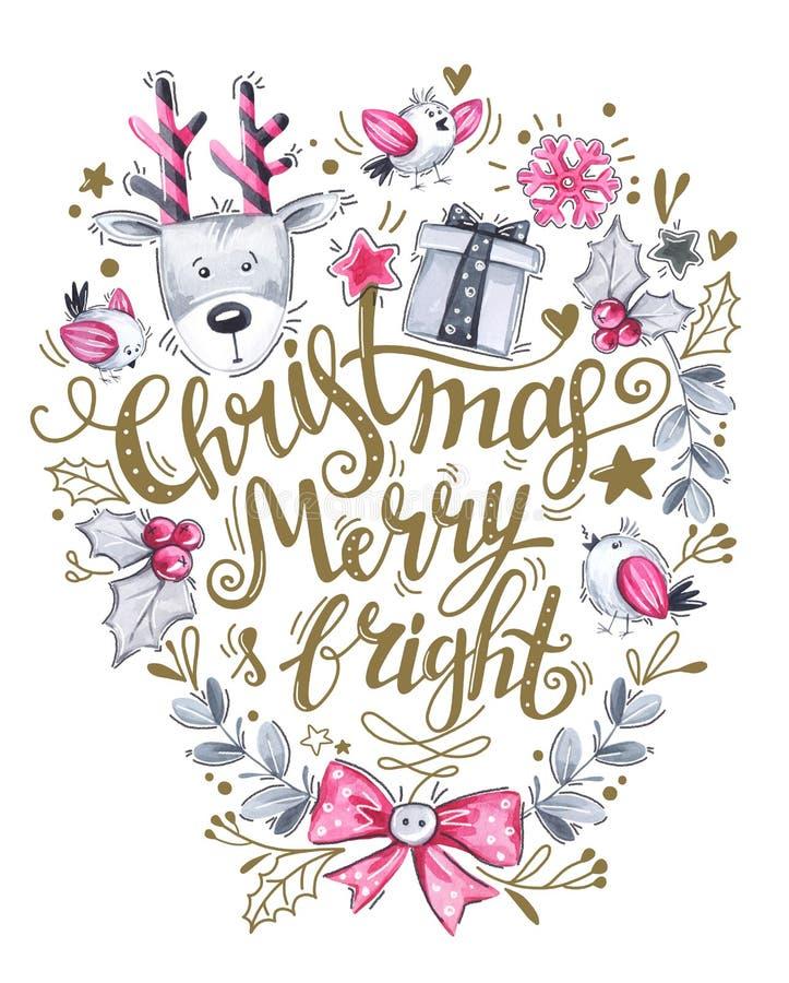 Ευχετήρια κάρτα της hand-drawn εγγραφής, των ελαφιών watercolor και των διακοσμήσεων διακοπών ελεύθερη απεικόνιση δικαιώματος