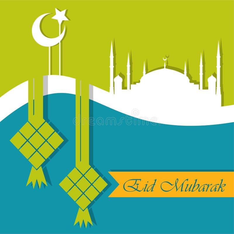 Ευχετήρια κάρτα του Mubarak Eid διανυσματική απεικόνιση