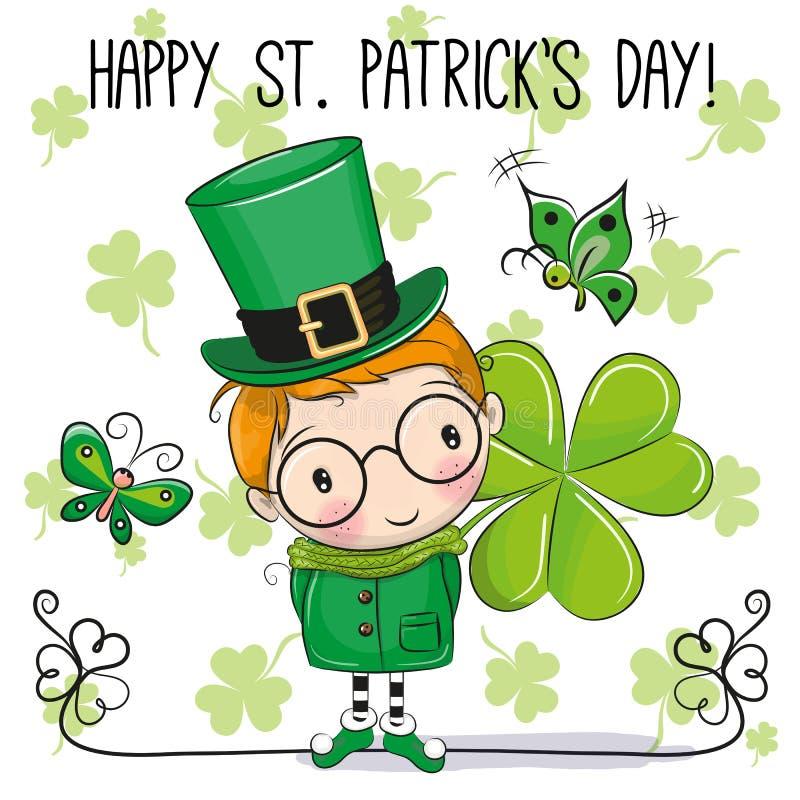 Ευχετήρια κάρτα του ST Patricks με το leprechaun διανυσματική απεικόνιση