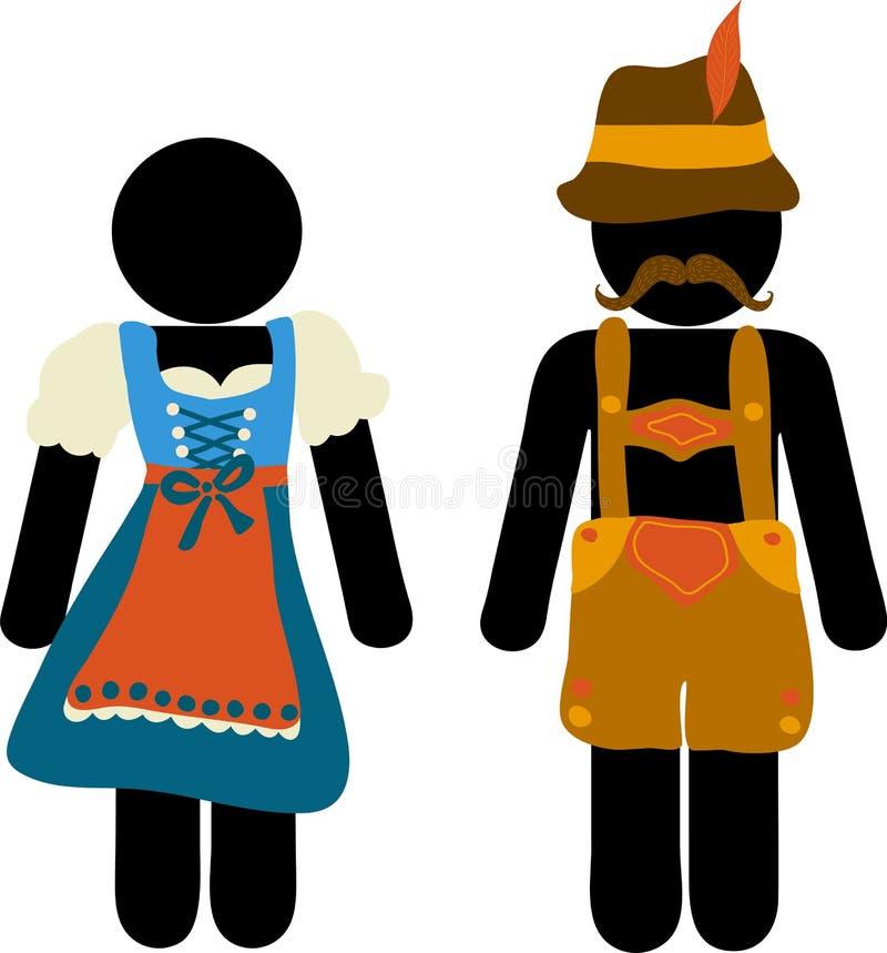 Ευχετήρια κάρτα φεστιβάλ μπύρας Oktoberfest εικονογραμμάτων Εικονίδια ανδρών και γυναικών στα παραδοσιακά βαυαρικά σημάδια κοστου ελεύθερη απεικόνιση δικαιώματος