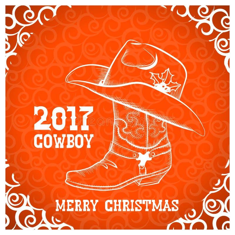 Ευχετήρια κάρτα Χαρούμενα Χριστούγεννας κάουμποϋ με τα αντικείμενα κάουμποϋ διανυσματική απεικόνιση