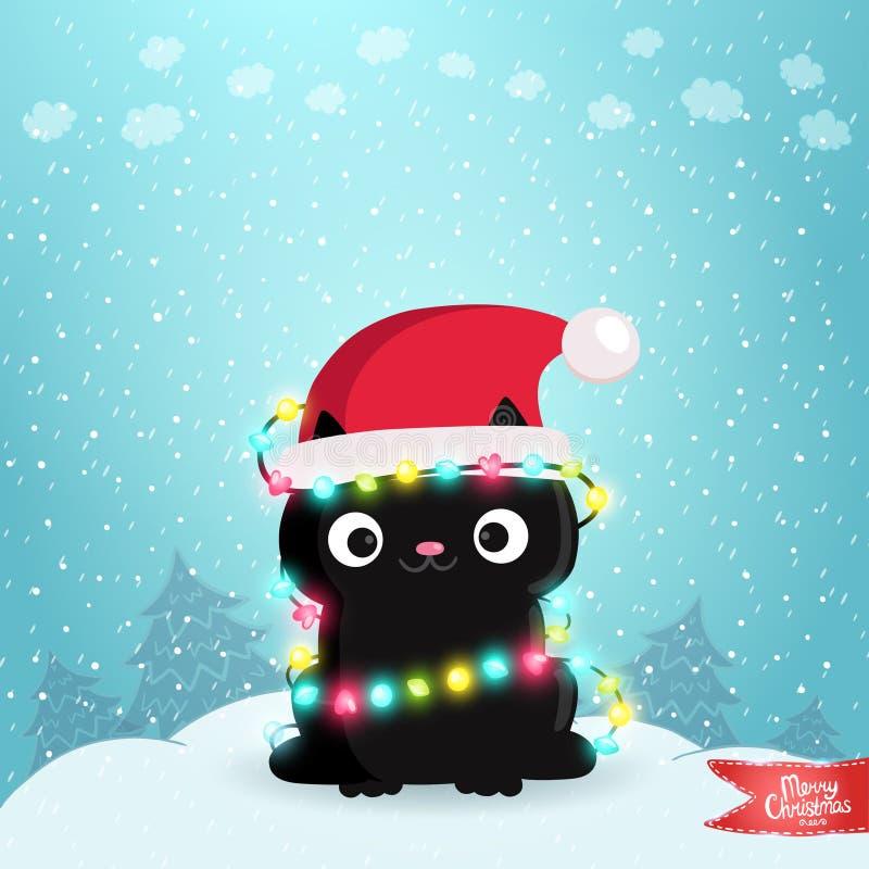 Ευχετήρια κάρτα Χαρούμενα Χριστούγεννας με μια μαύρη γάτα διανυσματική απεικόνιση