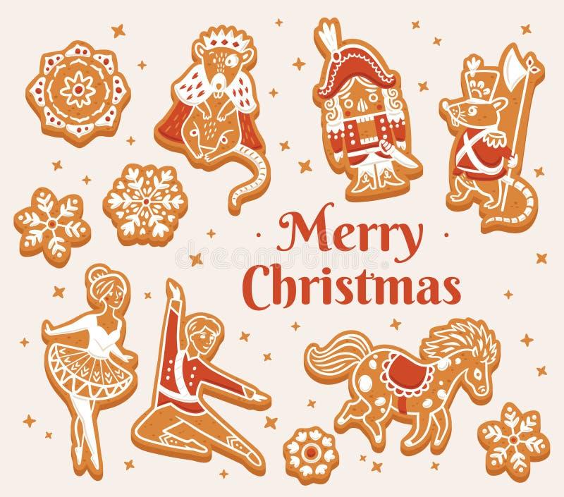Ευχετήρια κάρτα Χαρούμενα Χριστούγεννας με τα μπισκότα μελοψωμάτων ως χαρακτήρες καρυοθραύστης απεικόνιση αποθεμάτων