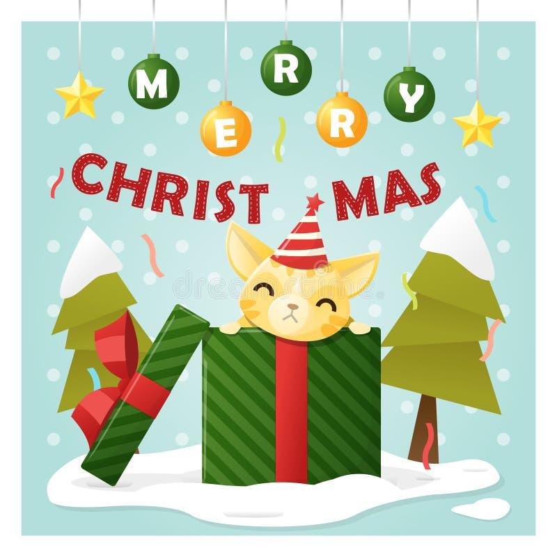 Ευχετήρια κάρτα Χαρούμενα Χριστούγεννας με τη γάτα μέσα στο κιβώτιο δώρων διανυσματική απεικόνιση