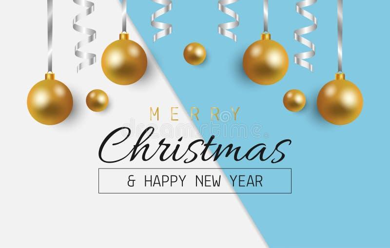 Ευχετήρια κάρτα Χαρούμενα Χριστούγεννας με τις σφαίρες και λαμπρή κορδέλλα στο άσπρο και μπλε υπόβαθρο r διανυσματική απεικόνιση