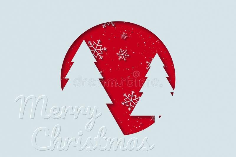 Ευχετήρια κάρτα Χαρούμενα Χριστούγεννας με το δέντρο, το χιόνι και το χιόνι πεύκων Χριστουγέννων απεικόνιση αποθεμάτων