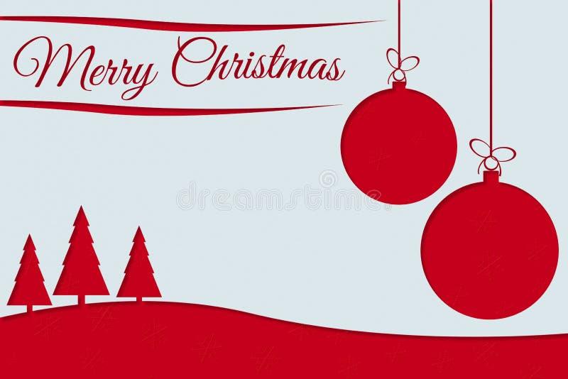 Ευχετήρια κάρτα Χαρούμενα Χριστούγεννας με το κόκκινο κείμενο, τις σφαίρες Χριστουγέννων και το πεύκο ελεύθερη απεικόνιση δικαιώματος