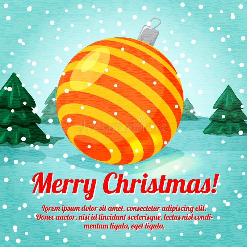 Ευχετήρια κάρτα Χαρούμενα Χριστούγεννας με το χαριτωμένο παιχνίδι σφαιρών απεικόνιση αποθεμάτων