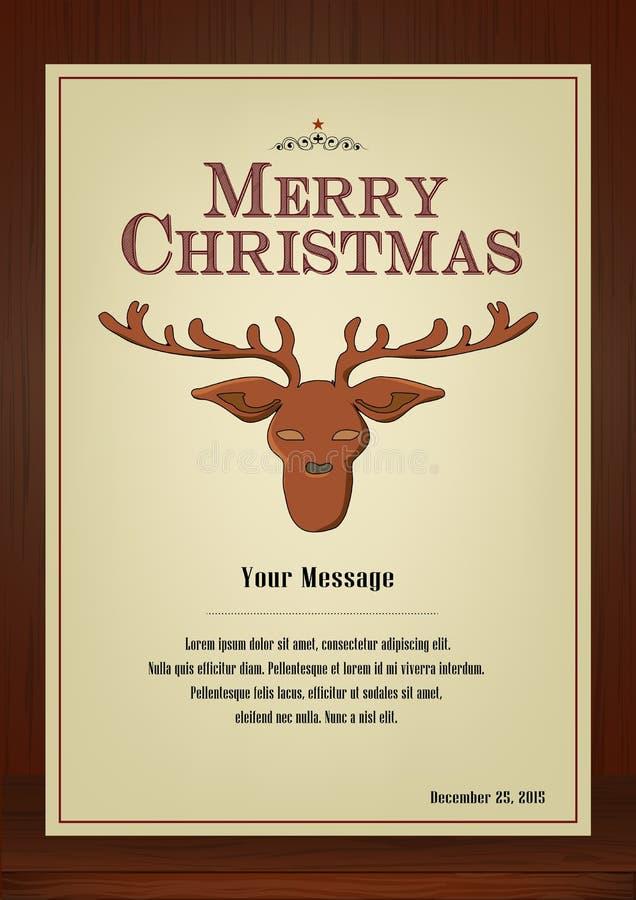 Download Ευχετήρια κάρτα Χαρούμενα Χριστούγεννας στον τρύγο με το σύμβολο ταράνδων στο ξύλινο υπόβαθρο Διανυσματική απεικόνιση - εικονογραφία από διακοσμητικός, κάρτα: 62720405