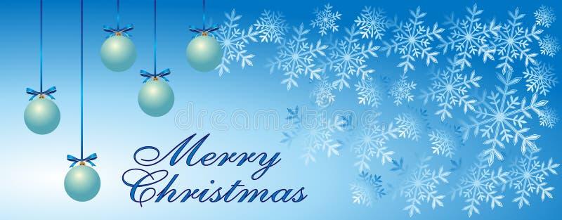 Ευχετήρια κάρτα Χαρούμενα Χριστούγεννας, snowflakes, τρεις μπλε διακοσμητικές σφαίρες στο χειμερινό μπλε υπόβαθρο Χρονική σύσταση απεικόνιση αποθεμάτων
