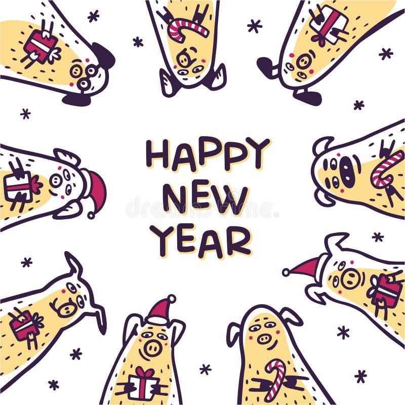 Ευχετήρια κάρτα χοίρων καλής χρονιάς Αστείοι χοίροι με τους καλάμους καραμελών, τα δώρα και τα καπέλα santa 2019 κινεζικό νέο σύμ απεικόνιση αποθεμάτων