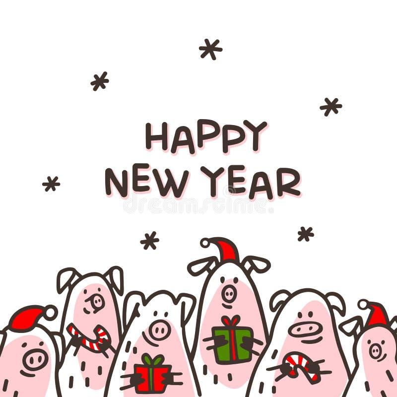Ευχετήρια κάρτα χοίρων καλής χρονιάς Αστείοι χοίροι με τους καλάμους καραμελών, τα δώρα και τα καπέλα santa 2019 κινεζικό νέο σύμ διανυσματική απεικόνιση