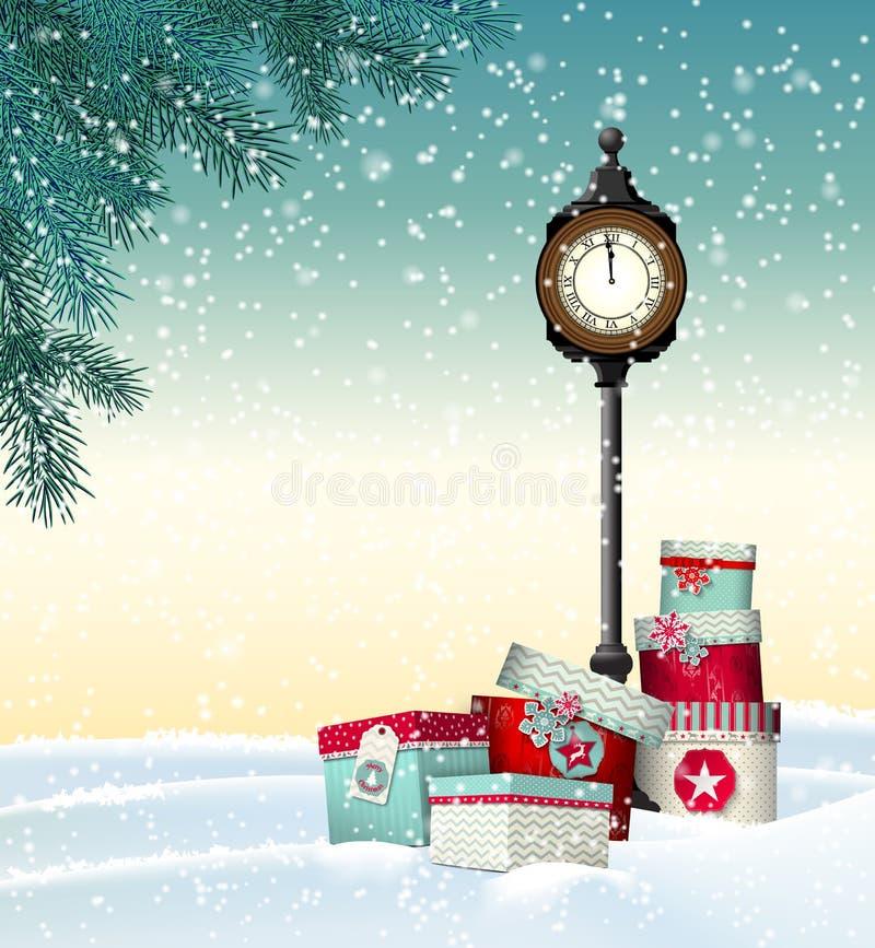 Ευχετήρια κάρτα Χριστουγέννων, κιβώτια δώρων με τον τρύγο διανυσματική απεικόνιση