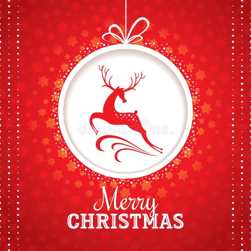 Ευχετήρια κάρτα Χριστουγέννων με τα ελάφια διανυσματική απεικόνιση