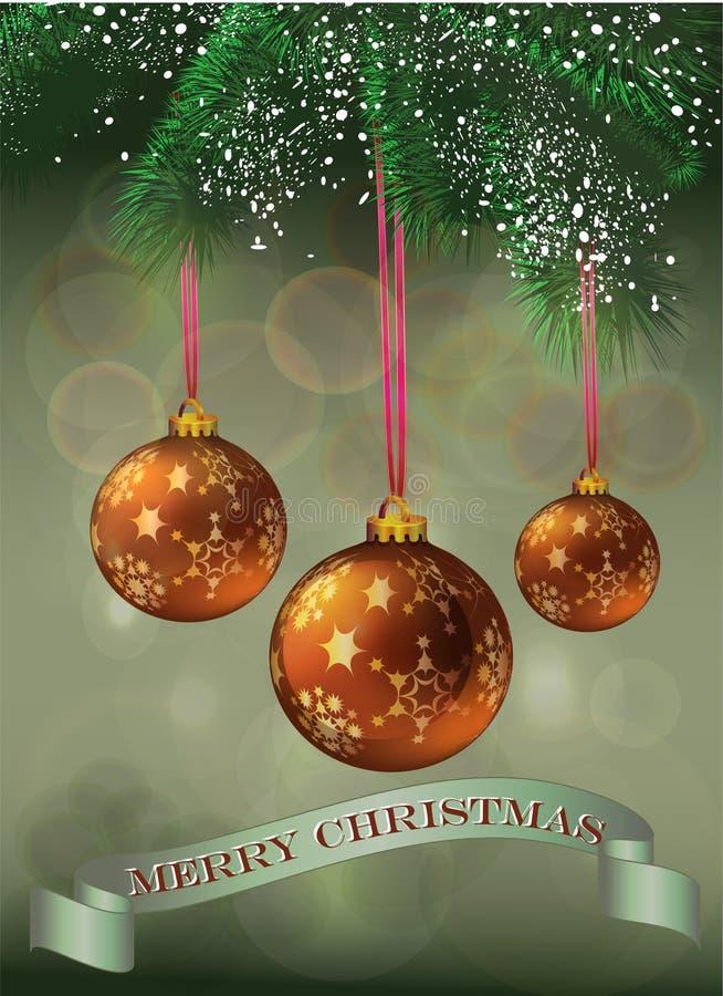 Ευχετήρια κάρτα Χριστουγέννων με τα μπιχλιμπίδια απεικόνιση αποθεμάτων