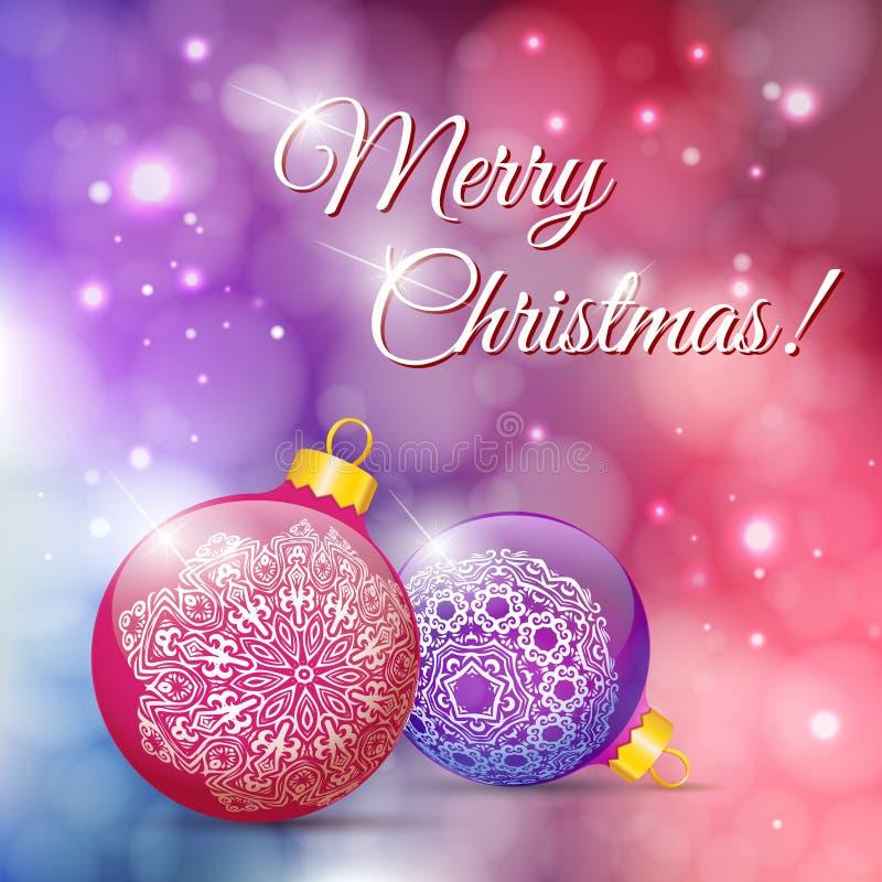 Ευχετήρια κάρτα Χριστουγέννων με τις σφαίρες Χριστουγέννων Letteri Χαρούμενα Χριστούγεννας απεικόνιση αποθεμάτων