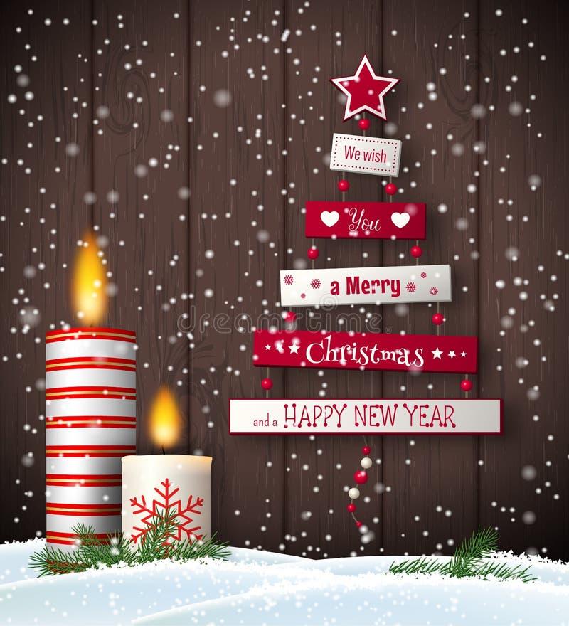 Ευχετήρια κάρτα Χριστουγέννων με το αφηρημένα δέντρο και τα κεριά διανυσματική απεικόνιση