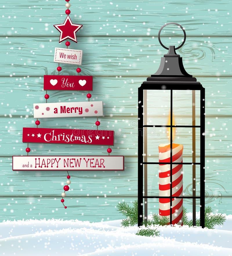 Ευχετήρια κάρτα Χριστουγέννων με το αφηρημένα δέντρο και το φανάρι ελεύθερη απεικόνιση δικαιώματος