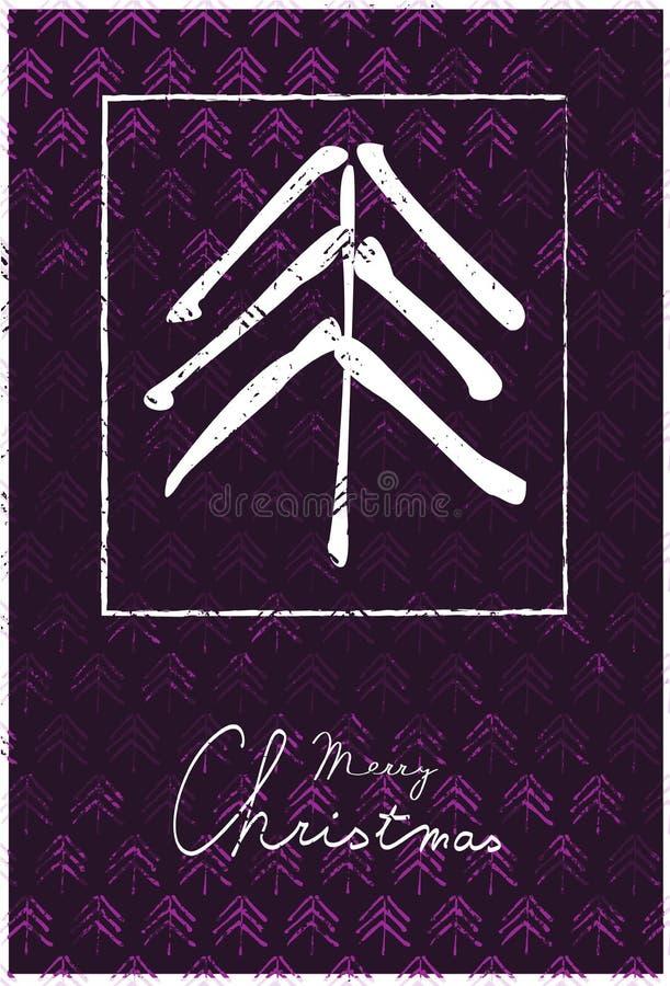 Ευχετήρια κάρτα Χριστουγέννων με το δέντρο και το χειρόγραφο κείμενο διανυσματική απεικόνιση