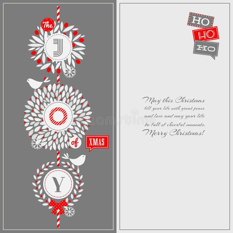 Ευχετήρια κάρτα Χριστουγέννων με το στεφάνι ελαιόπρινου και τα χαριτωμένα πουλιά απεικόνιση αποθεμάτων