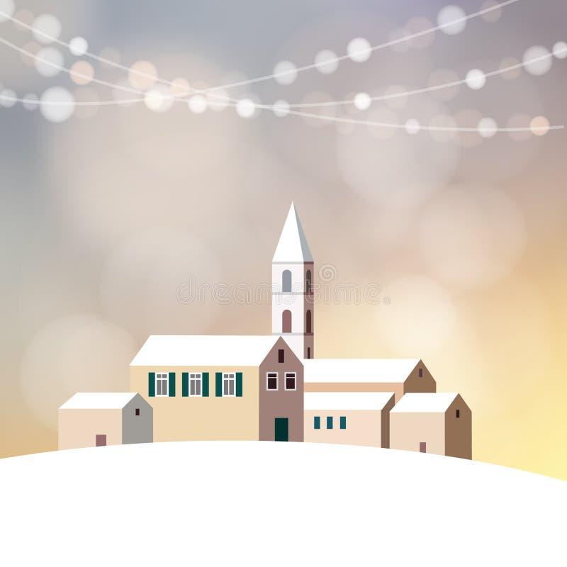 Ευχετήρια κάρτα Χριστουγέννων με το χειμερινό τοπίο, εκκλησία, λίγο χωριό ελεύθερη απεικόνιση δικαιώματος