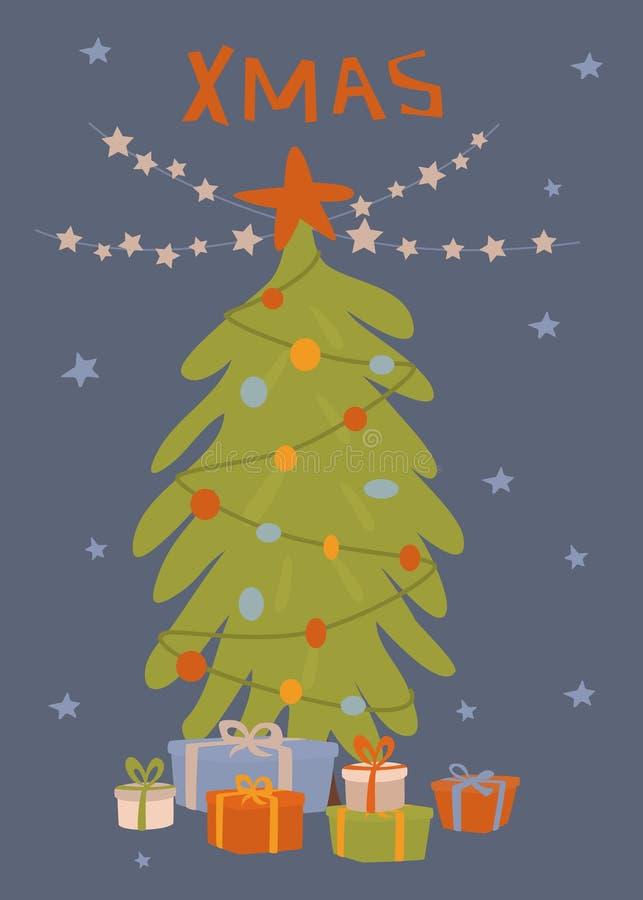 Ευχετήρια κάρτα Χριστουγέννων με το χριστουγεννιάτικο δέντρο, τα κιβώτια δώρων και τη διανυσματική απεικόνιση γιρλαντών αστεριών ελεύθερη απεικόνιση δικαιώματος