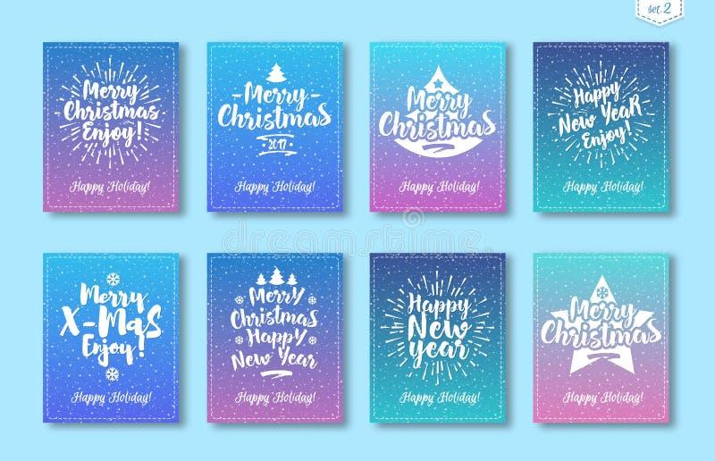 Ευχετήρια κάρτα Χριστουγέννων που τίθεται με το άσπρο αποτελούμενο σημάδι καλή χρονιά, Χαρούμενα Χριστούγεννα εμβλημάτων απεικόνιση αποθεμάτων