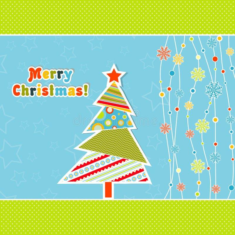 Ευχετήρια κάρτα Χριστουγέννων προτύπων, διάνυσμα απεικόνιση αποθεμάτων