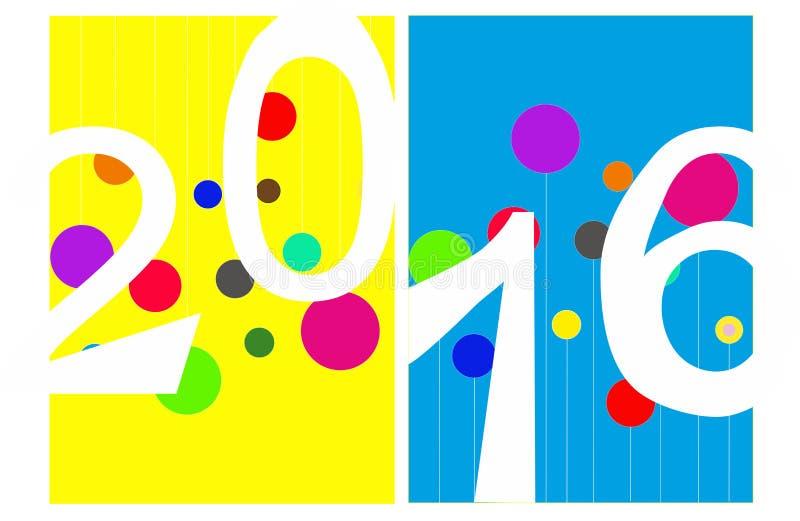 Ευχετήρια κάρτα 2016 διανυσματική απεικόνιση