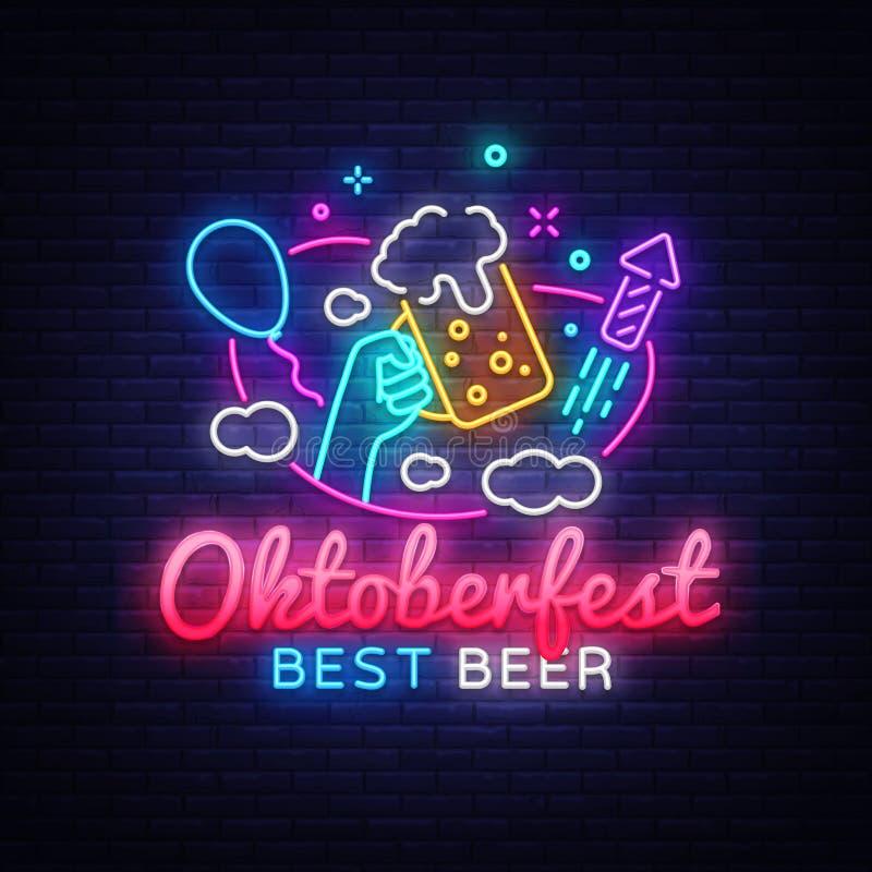 Ευχετήρια κάρτα Oktoberfest Εορτασμός γεγονότος προτύπων σχεδίου σημαδιών νέου Oktobefest Διάνυσμα εμβλημάτων νέου φεστιβάλ μπύρα ελεύθερη απεικόνιση δικαιώματος