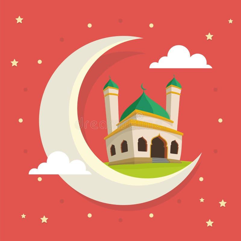 Ευχετήρια κάρτα Ramadan με το μουσουλμανικό τέμενος κινούμενων σχεδίων στο φεγγάρι απεικόνιση αποθεμάτων