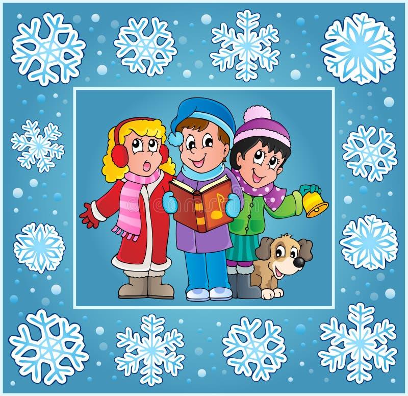 Ευχετήρια κάρτα 9 thematics Χριστουγέννων διανυσματική απεικόνιση