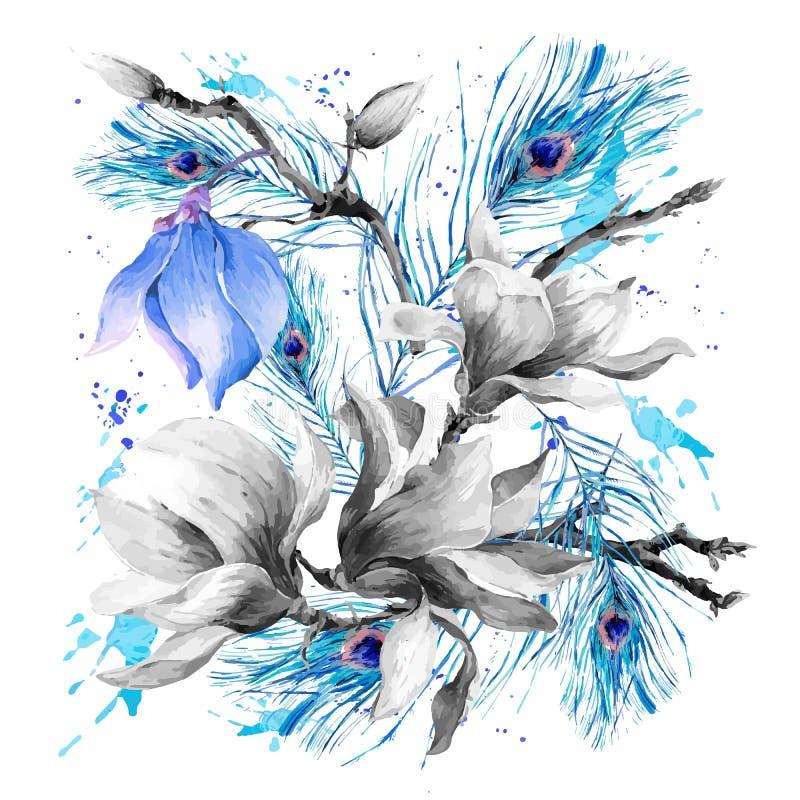 Ευχετήρια κάρτα Watercolor με τα ανθίζοντας λουλούδια Magnolia απεικόνιση αποθεμάτων