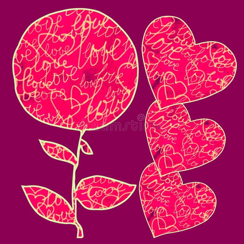 Ευχετήριες κάρτες για το γάμο και την ημέρα Valentine's απεικόνιση αποθεμάτων