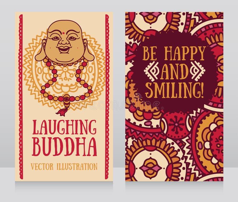 Ευχετήριες κάρτες με τον προϊστάμενο του γελώντας Βούδα απεικόνιση αποθεμάτων