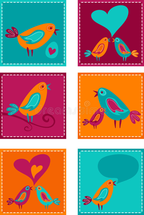 Ευχετήριες κάρτες συλλογής og με τα πουλιά απεικόνιση αποθεμάτων