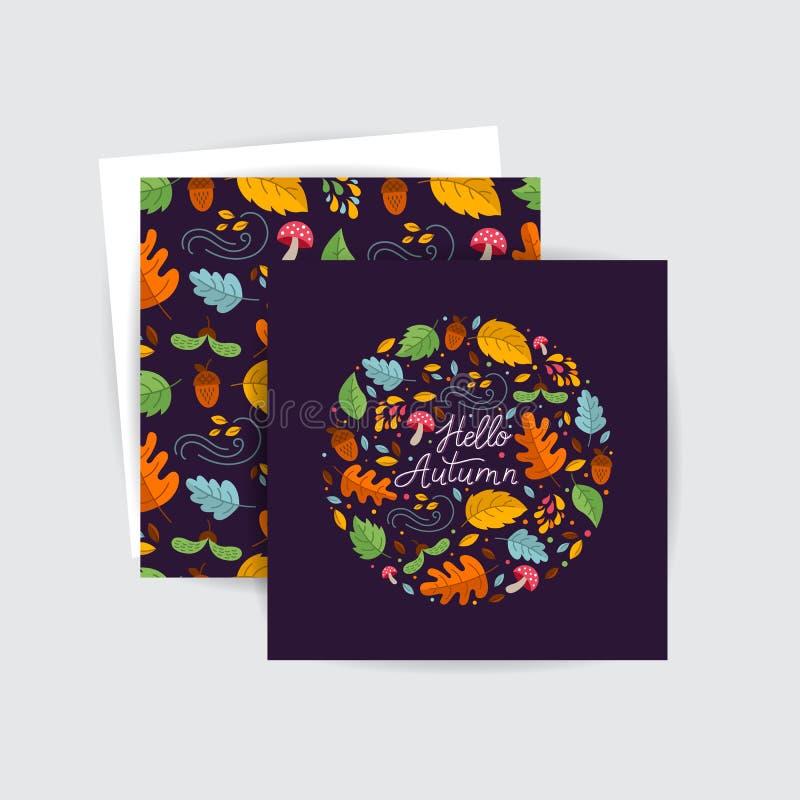 Ευχετήριες κάρτες φθινοπώρου διανυσματική απεικόνιση