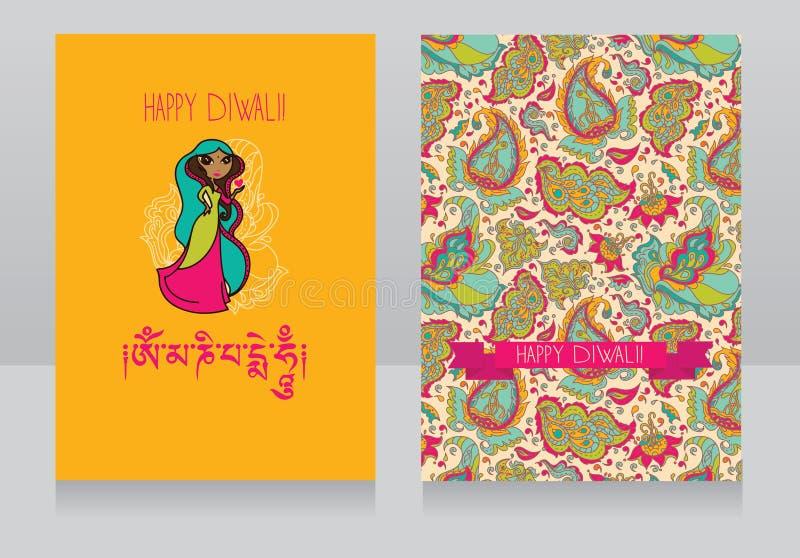 Ευχετήριες κάρτες Diwali διανυσματική απεικόνιση