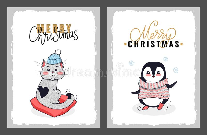 Ευχετήριες κάρτες, Penguin και γάτα Χαρούμενα Χριστούγεννας απεικόνιση αποθεμάτων