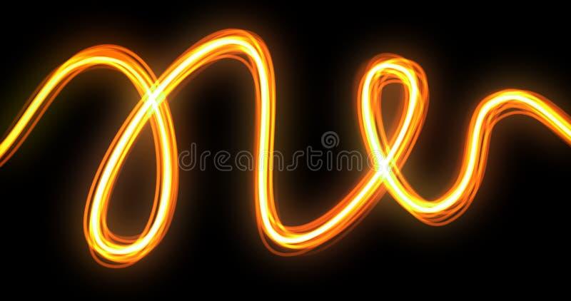 Εφέ ίχνους κύματος φωτός με διαδρομή ίχνους κύλισης νέον, κίτρινη και πορτοκαλί λάμψη λάμψης Γραμμή οπτικών ινών στοκ φωτογραφία με δικαίωμα ελεύθερης χρήσης