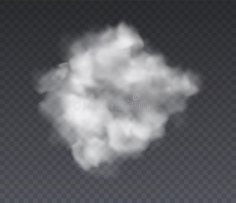 εφέ 'Συννεφιά Χημεία που στέκονται στην ομίχλη και λευκό καπνό απομονωμένα σε διαφανές φόντο, υφή νέφους διανύσματος απεικόνιση αποθεμάτων