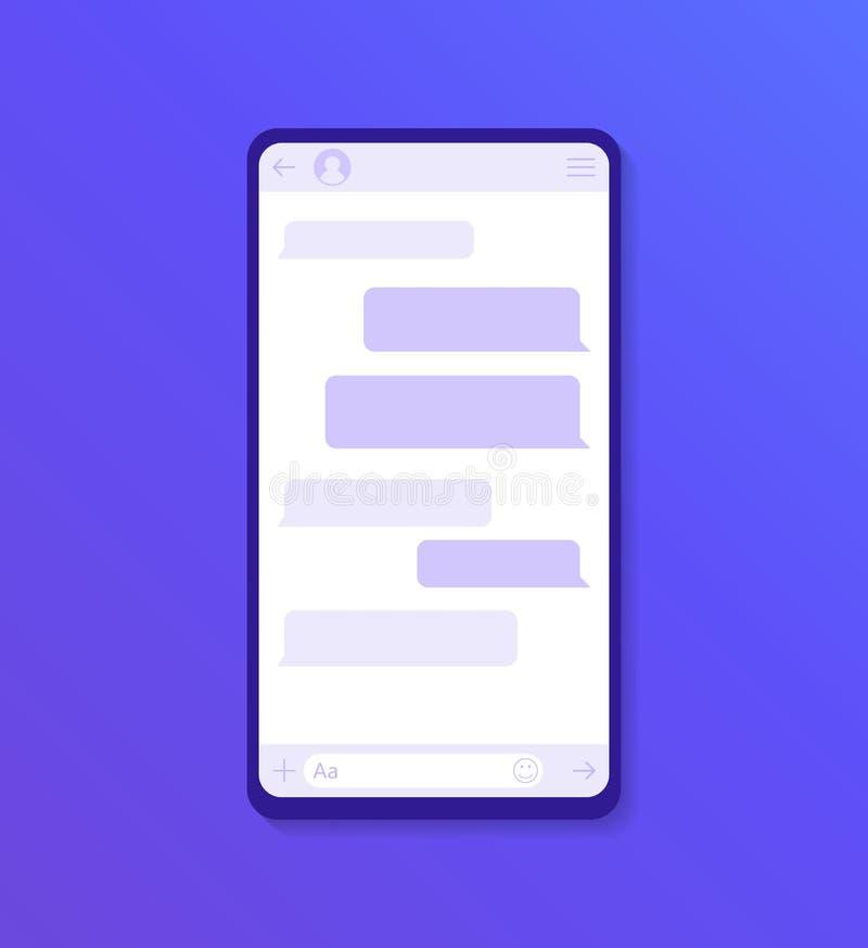 Εφαρμογή διεπαφών συνομιλίας με το παράθυρο διαλόγου Καθαρή κινητή έννοια σχεδίου UI Αγγελιοφόρος Sms Σύγχρονη επίπεδη απεικόνιση απεικόνιση αποθεμάτων