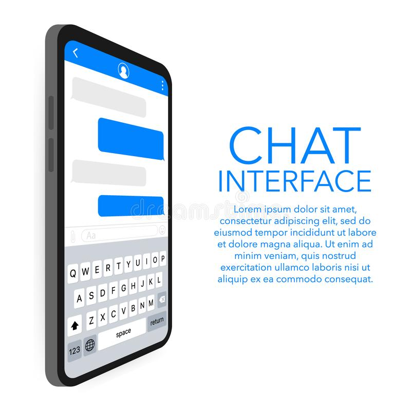 Εφαρμογή διεπαφών συνομιλίας με το παράθυρο διαλόγου Καθαρή κινητή έννοια σχεδίου UI Αγγελιοφόρος Sms επίσης corel σύρετε το διάν απεικόνιση αποθεμάτων