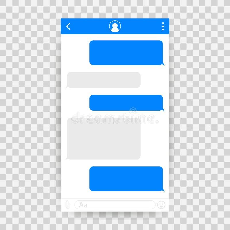 Εφαρμογή διεπαφών συνομιλίας με το παράθυρο διαλόγου Καθαρή κινητή έννοια σχεδίου UI Αγγελιοφόρος Sms επίσης corel σύρετε το διάν διανυσματική απεικόνιση