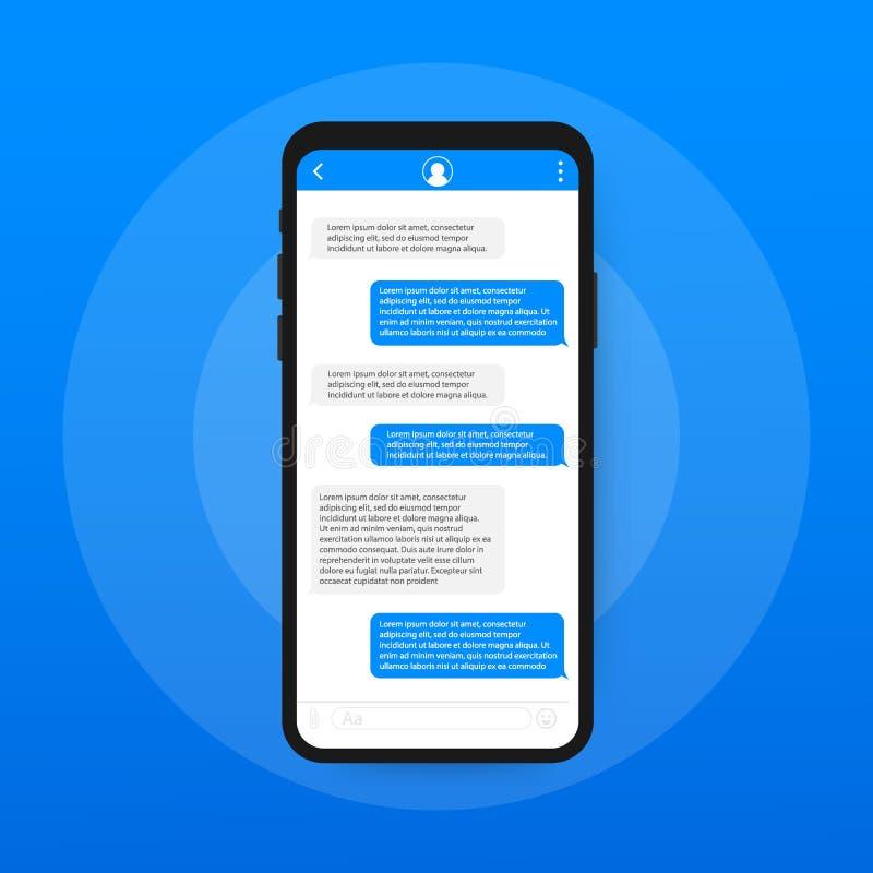 Εφαρμογή διεπαφών συνομιλίας με το παράθυρο διαλόγου Καθαρή κινητή έννοια σχεδίου UI Αγγελιοφόρος Sms επίσης corel σύρετε το διάν ελεύθερη απεικόνιση δικαιώματος