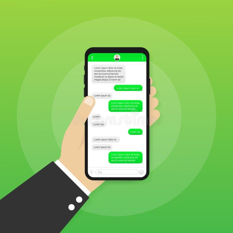 Εφαρμογή διεπαφών συνομιλίας με το παράθυρο διαλόγου Καθαρή κινητή έννοια σχεδίου UI Αγγελιοφόρος Sms r ελεύθερη απεικόνιση δικαιώματος